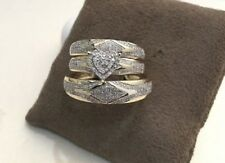 14K Yellow Gold Over His Her Diamond Trio Bridal Set Heart Shape Engagement Ring