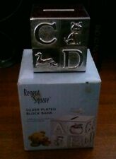 Silver Plated Alphabet Cube Child'S Bank
