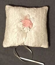 Handmade Ring Bearer Pillow in Ivory and dark rose, Wedding Ring Pillow