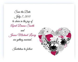 100 Personalized Custom Hot Pink Floral Heart Flower Wedding Save The Date Cards