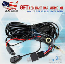 8ft 40A 12V Power Switch & Relay Wiring Harness Kit for LED Light Bar Off road