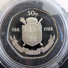 IRELAND 1988 DUBLIN MILLENNIUM PROOF 50 PENCE  - boxed/coa
