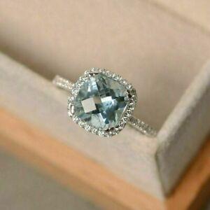2.50Ct Cushion Cut Aquamarine Diamond Halo Engagement Ring 14K White Gold Finish