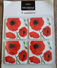 Set of 4 Beautiful Coasters Dinning Room Decor Cork Backed Wipe Clean POPPIES