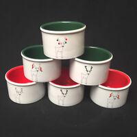 BIA Cordon Bleu Christmas Reindeer Set/6  Ramekins Dishwasher & Mircrowave Safe