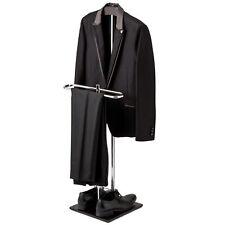 Wood & Metal Suit Valet Floor Stand/ Garment Organizer Rack/ Coat & Pants Hanger