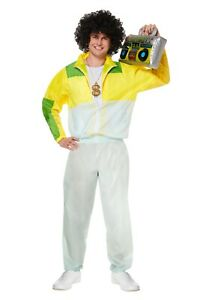 Men's Shell Suit Costume Tracksuit Scouser 80s Outfit Fancy Dress Party Costume