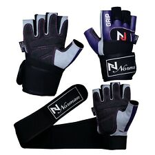 Purple Weight Lifting Gym Padded Leather Training Workout Fitness Gloves