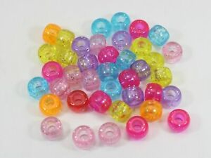 200 Mixed Glitter Transparent Color Acrylic Barrel Pony Beads 9X6mm Kids Crafts