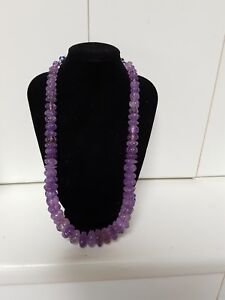 Genuine 675 Ct Earth Mined Natural Car  ved Melon Amethyst Beaded Necklace 20mm