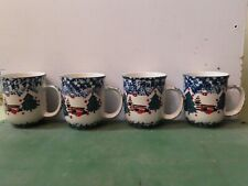 Set of 4 Coffee Mugs FOLK CRAFT by Tienshan CABIN IN THE SNOW Christmas 1 of 2