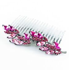 USA Hair Comb using Swarovski Crystal Hairpin Vintage Bridal Wedding Leaf PINK