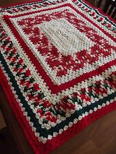 "Vintage Afghan GRANNY CHRISTMAS Crochet Quilt Throw Blanket 45""x39"" NICE! square"