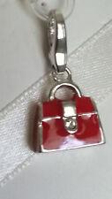 Italy Designer Giorgio Martello 925 Sterling Silver Red Enamel Handbag Charm