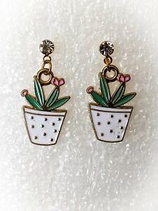 Green Cactus Flower Pot White Rhinestone Gold Drop Earrings Fashion Party Woman