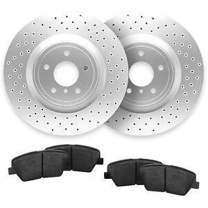 For 2004-2010 Audi A8 Quattro Rear Cross Drilled Brake Rotors + Ceramic Pads