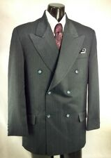 Gatsby Mens 40R Charcoal Blue Gray Pinstripe Double Breasted Suit Jacket