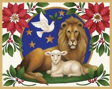 4 Lion & Lamb animal Holiday Christmas Cards by Caspari New mint condition