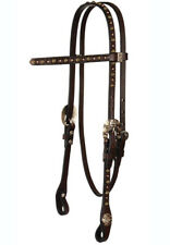 "Reinsman 5/8"" Browband Headstall Choco Bridle Leather - Antique Conchos & Spots"