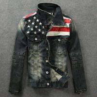 American Flag Vintage Men Jeans Denim Coat  Hoodie Slim Star Denim  Jeans Jacket