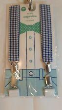 Kids Boys Navy Gingham Adjustable Elastic Suspenders Ages 3+