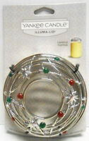 RARE! NEW YANKEE CANDLE Illuma-Lid Candle Topper Christmas Chrome Red Green