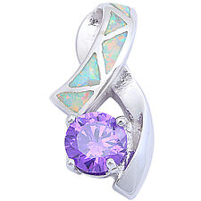 Round Faceted Amethyst & White Opal .925 Sterling Silver Pendant 21.5mm