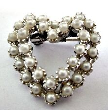 FAUX PEARL DOUBLE ROW PRETTY HEART PIN GOLD TONE METAL VINTAGE 1960'S