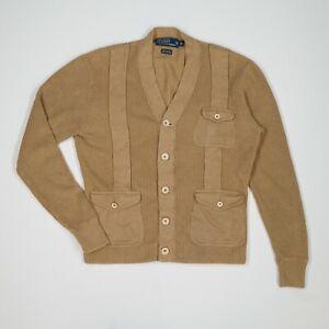 Polo Ralph Lauren (M) Tortilla Brown Linen/Cotton Half Belt Cardigan Sweater