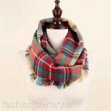 Checker Plaid Pattern Infinity Loop Scarf with Fringe Trim