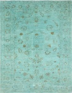 Traditional Handmade Oriental Large Area Rug Green Color Modern Design (5 x 7)
