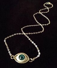 "Eye Ball Necklace Creepy Evil Lucky Protection 18"" Unusual Rockabilly Horror *UK"