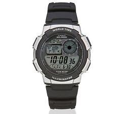 Casio AE1000W-1BV Black Digital World Time Illuminator Sports Wrist Watch New