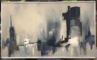 '64  Buffalo Waterfront, Jane Lapey (1915-1981), Buffalo NY, Oil On Canvas 50x30