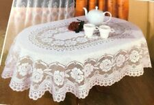 NEW European  Fine  Polish Lace Tablecloth  in White and Ivory