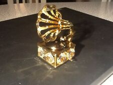 Swarovski crystal figure 24k gold plated Gramophone turntable, New