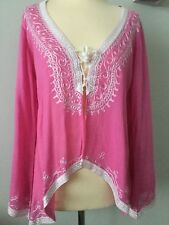 NWT - DONALE OF ST. BARTS - ST. TROPEZ - PINK COTTON EMBROIDERED TOP ONE SIZE