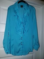 Queen Latifa Collection Ruffled Button Up Blouse Medium FREE SHIPPING