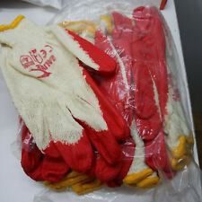100 Pairs Rubber Coated Work Safety Construction Gloves Red Thinner Type