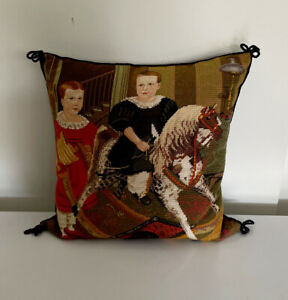 """VTG Handmade KATHA DIDDLE COLLECTION Children Needlepoint Parlor Pillow 17.5"""" SQ"""