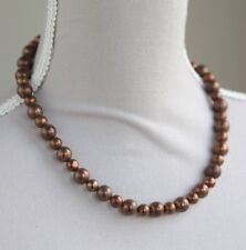 """BRONZE PYRITE NECKLACE & EARRING SET ~ GOLD PLATED  18.5"""" IN LENGTH"""