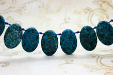 Blue Jasper Natural Flat Oval Smooth Gemstone Beads Loose Bead 22mm x 36mm