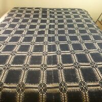 1800s Antique Overshot Blue White Twin Woven Coverlet Blanket Squares