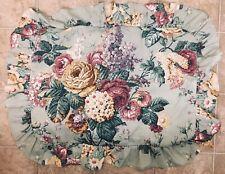 Dan River Standard Pillow Sham Romantic Ruffle Sage Green Purple Lilac Floral