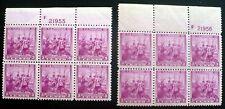 Two USA, Scott #836, 1938 Swedes & Finns MNH Plate Blocks of 6