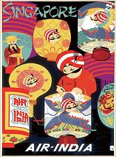 Singapore Air India Southeast Asia Asian Vintage Travel Advertisement Poster