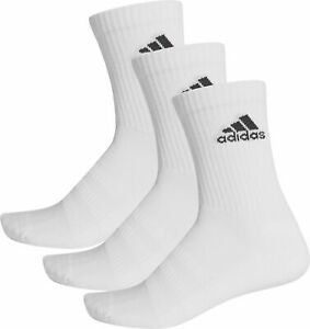 Sports Socks Adidas Cushioned 3 Pack White Arch Support Crew Cut Mens Womens