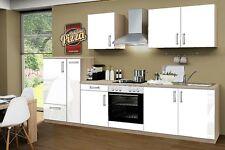 Küchenblock ohne Elektrogeräte Premium 300 cm in weiß glänzend mit Spüle