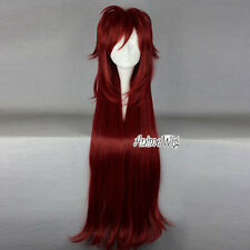 Anime Black Butler Long Layered Wavy Dark Red Hair Party Cosplay Wig + Wig Cap