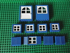Lego blue & white windows avec volets bleus & portes maison build project 012